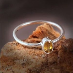 Handmade Natural Yellow Sapphire Ring in Silver